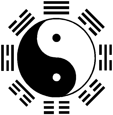 Yin and Yang, with Yin within the Yang, Yang within the Yinand the Eight Trigrams