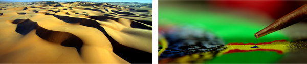 Left: Sand, aerial view Right: Sand Mandala details