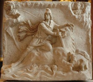 Mithras killing a sacred bull (tauroctony), side A of a two-faced Roman marble relief, ca.2nd or 3rd century AD.