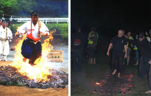 From left: A traditional Yamabushi fire walk and  Martin treads the hot coals for Break Charity