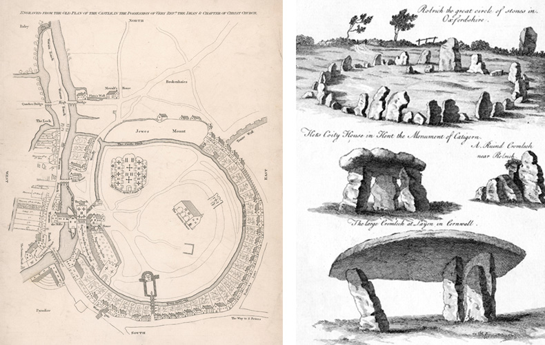 From left to right: Plan of Motte and Bailey castle of William the Conqueror, 16th Century; The Rollright stone circle, Oxfordshire, depicted in the 18th Century