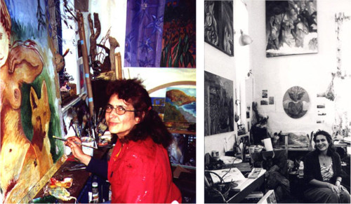 Images of Anahid Aslanyan in her studio